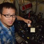 CEI graduate fellow Sanfeng Wu uses lasers to investigate the light-matter interactions of the 2D material.