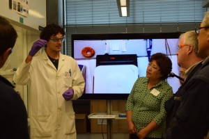 State legislators Cindy Ryu and Jeff Morris learn about cutting edge solar energy materials research at the UW Clean Energy Institute.