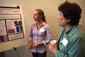UW Clean Energy Institute graduate fellow Genevieve Clark discusses her research at a lunchtime poster session.