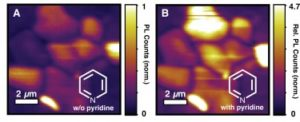 """The quality of the perovskite materials for electronic device applications improved after chemical treatment, remediating the """"dark"""" areas."""