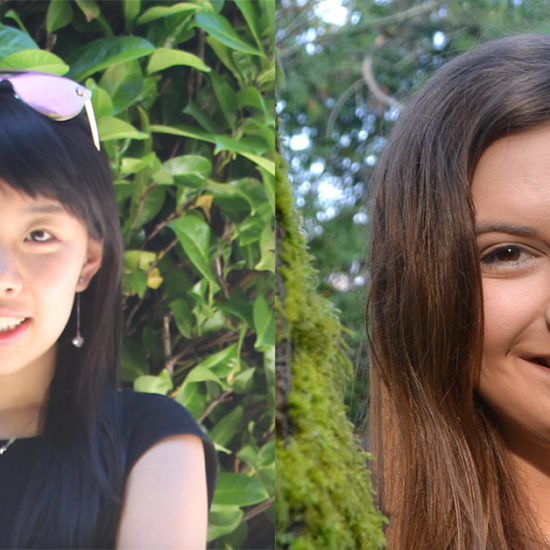 Headshots of two young women separated by a blank space