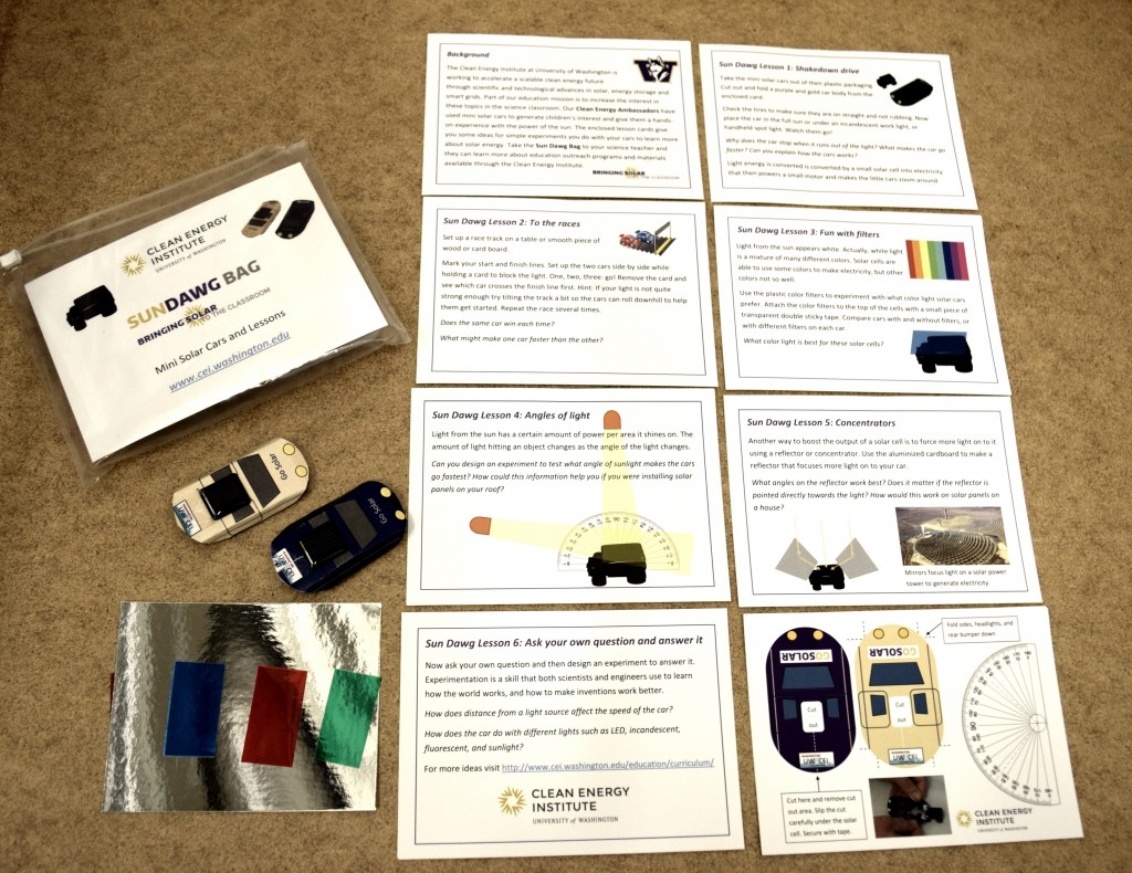 The Sun Dawg bag contains two cars, 9 lesson plan cards, filters and reflectors.