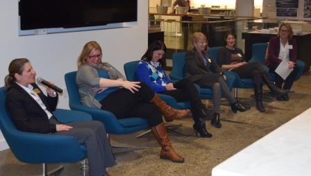 Women in Solar Panel (l-r) Louise Petruzella, Shorline Community College; Wendy Wenrick, A-R Solar; Diana Brown, DLR Goup; Bobi Garrett, National Renewable Energy Lab; Dr. Christine Luscombe, University of Washington, Renee Gastineau, University of Washington (moderator)