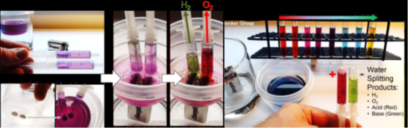 Fig. 1. We have extracted a natural anthocyanin dye from red cabbage. We use this dye as a universal pH indicator. The color change from purple to green or red allows us to show that splitting water into 2 parts H2 (larger volume of gas) and 1 part O2 (smaller volume) using a common 9-volt battery and two thumbtacks also generates acid (red) at the anode and base (green) at the cathode.
