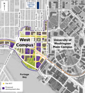 Map of University of Washington's West Campus in Seattle, WA