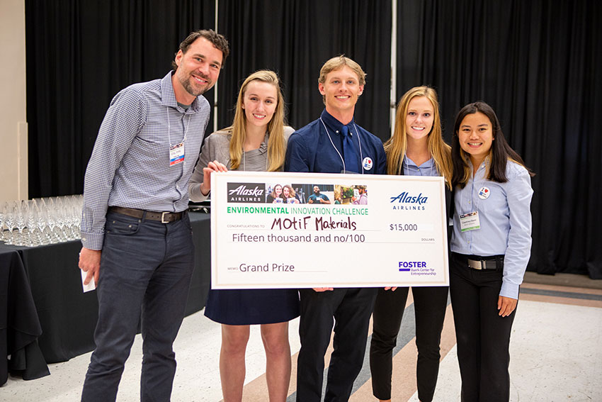 The MOtiF Materials team won first place at the 2019 Alaska Airlines Environmental Innovation Challenge. From left to right: Kirk Myers, Director of Sustainability at Alaska Airlines; Elizabeth Rasmussen; ME graduate student Stuart Moore; Molly Foley, BSME '19; and ME graduate student Courtney Otani. (Matt Hagen / UW Buerk Center for Entrepreneurship)